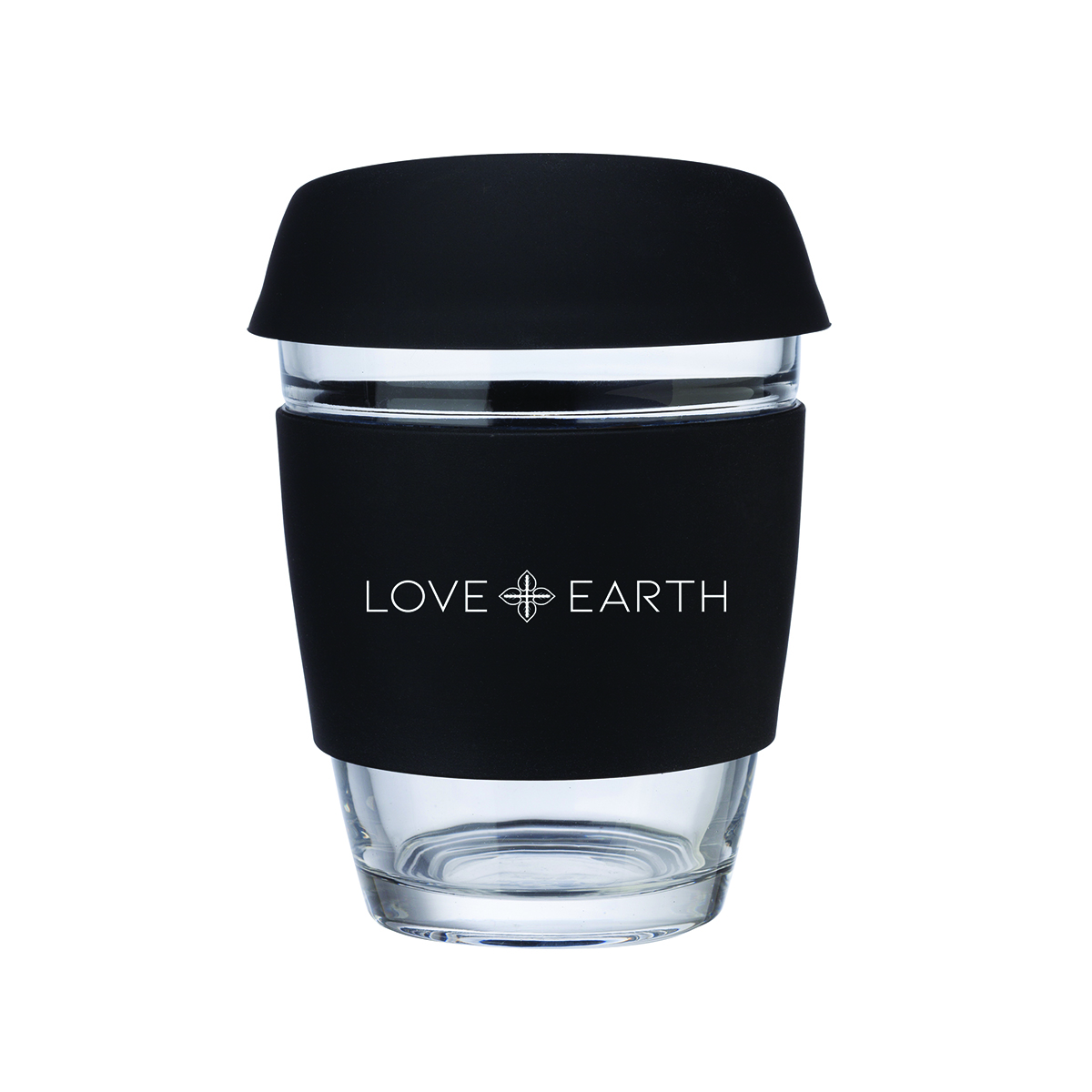LOVE+EARTH 12oz. GLASS COFFEE MUG WITH SILICONE GRIP